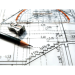 Bauzeichnung mit Bleistift und Anspitzer